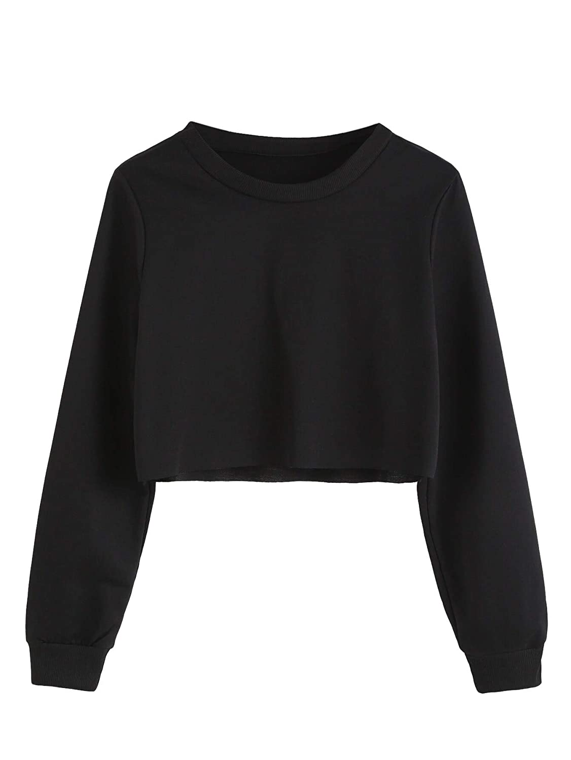 SOLY HUX Womens Casual Basic Long Sleeve Round Neck Pullover Crop Top Sweatshirt