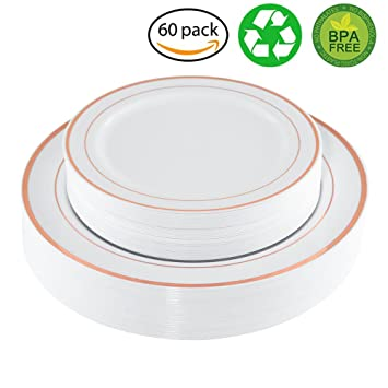 WDF Disposable Plastic Plates Set 30-10.25\u0026quot; Dinner Plates and 30- 7.5\u0026quot  sc 1 st  Amazon.com & Amazon.com: WDF Disposable Plastic Plates Set 30-10.25\