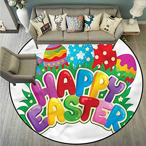 Living Room Round Mat,Easter,Cartoon Ornamental Eggs,Anti-Slip Doormat Footpad Machine Washable,4'7