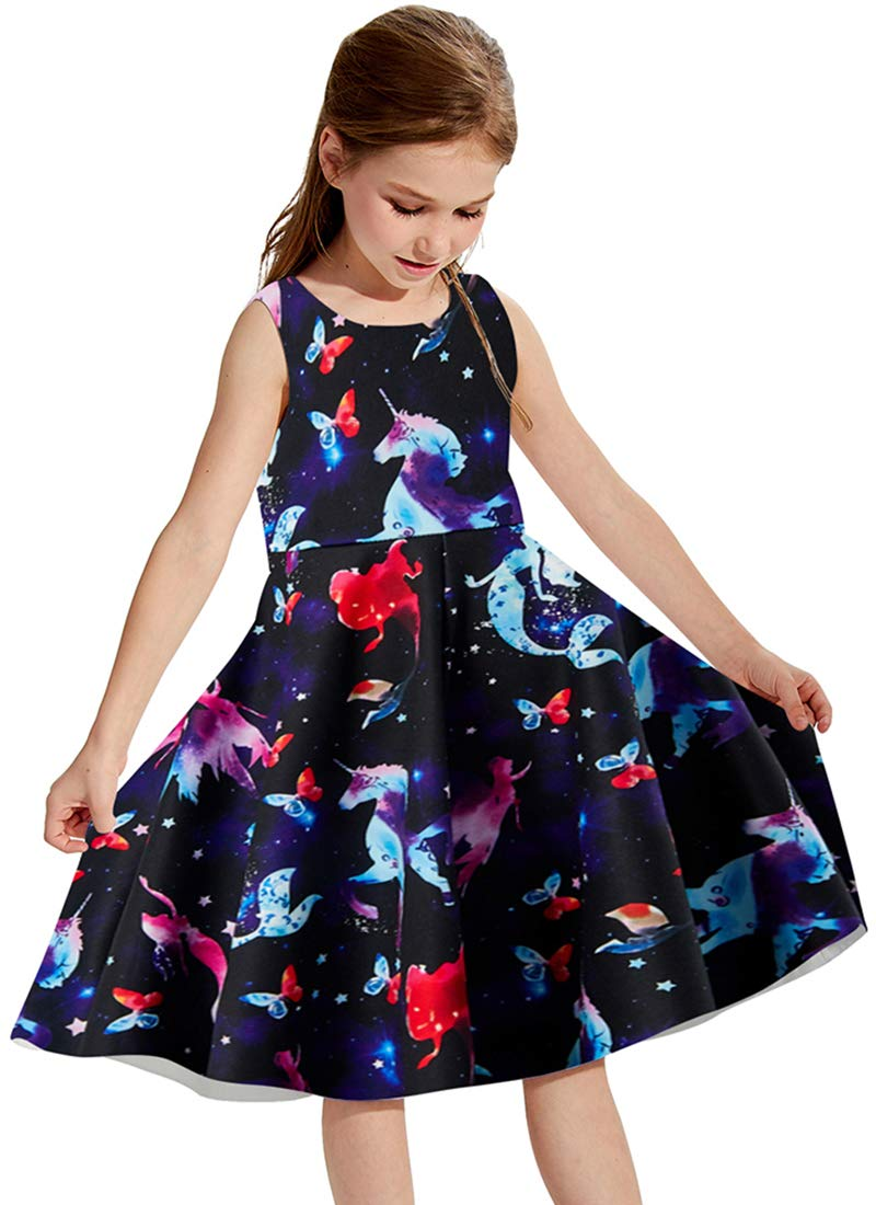 Leapparel Toddler Kids Summer Mermand & Unicorn Dresses Girls Round Neck Floral Casual Rainbow Tunic Green Horse Clothing 5T