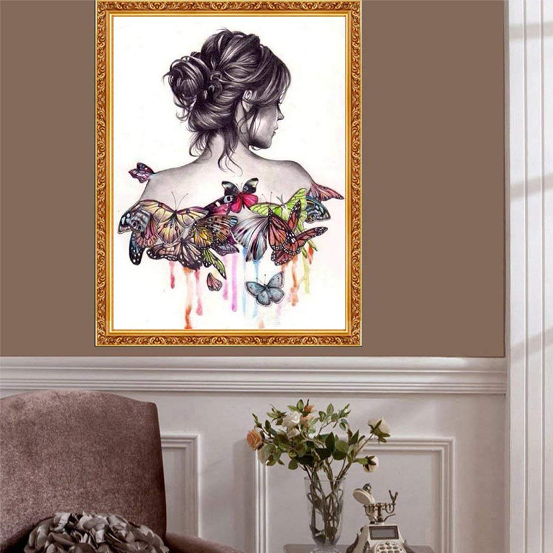 Woman 18X12inch//45X30CM Fipart 5D DIY Diamond Painting Cross Stitch Craft Kit Wall Stickers for Living Room Decoration