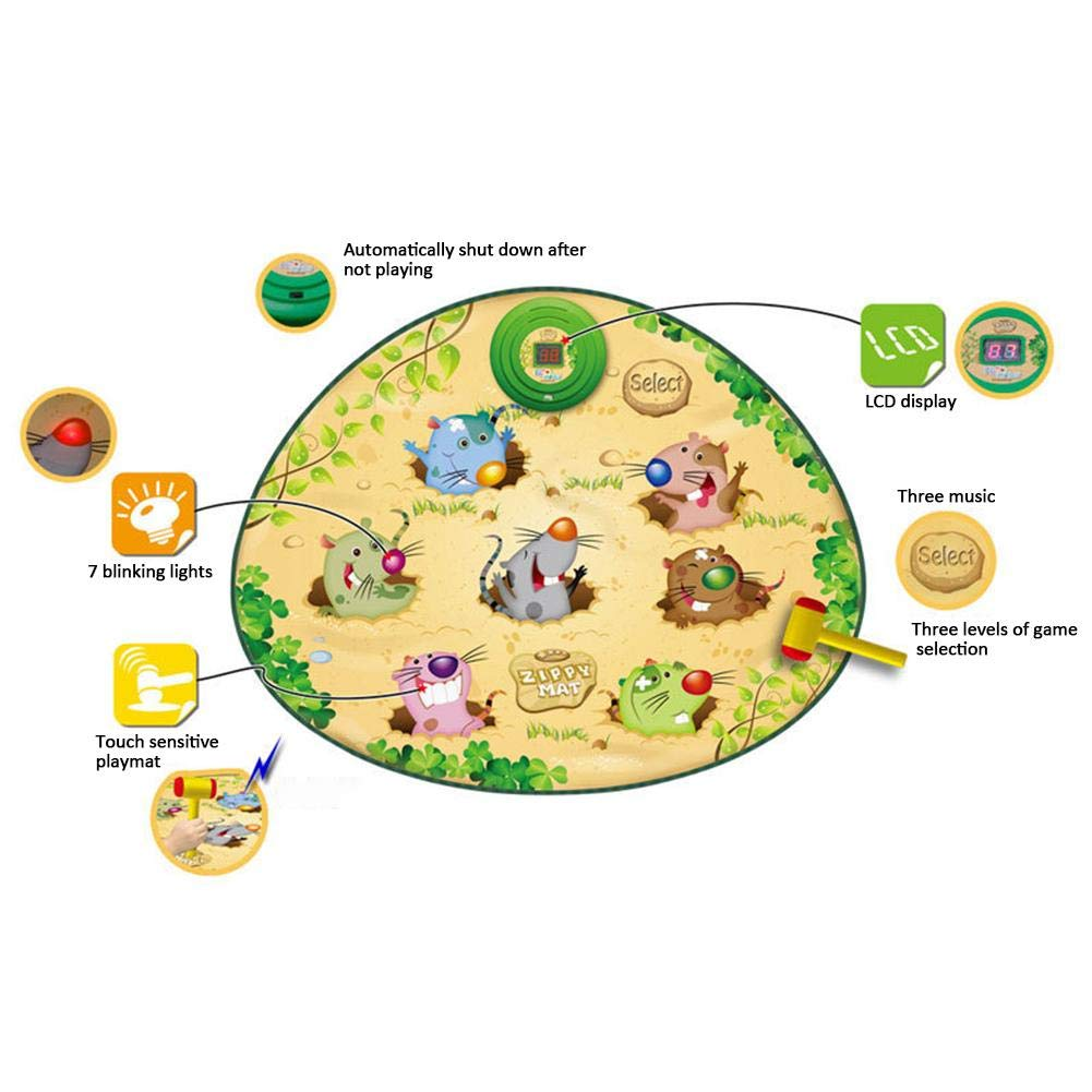 Zigtee Children's Toy Whac a Mole Game Dance Mat Puzzle Music Pad by Zigtee (Image #3)