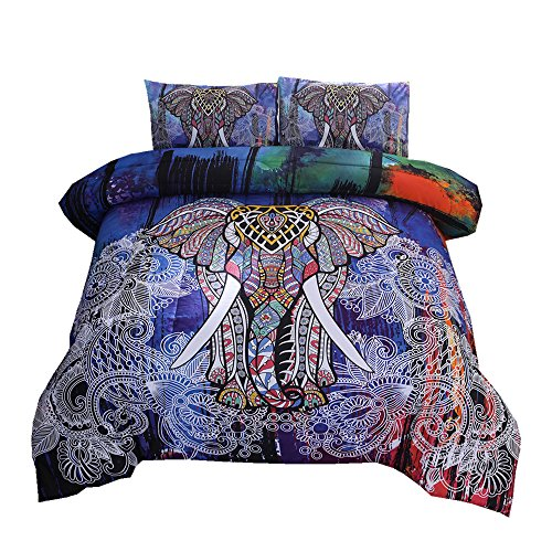 NTBED Bohemian Mandala Comforter Set, Exotic Elephant Pattern Boho Bedding Sets(Queen, Multi)