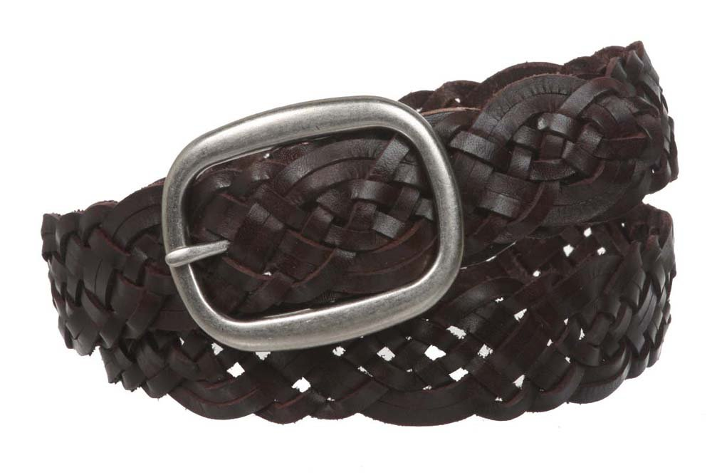 1 1/2 (37 mm) Womens Oval Braided Woven Leather Belt, Brown   S/M - 32 Brown   S/M - 32 Beltiscool 100907:010G:A008
