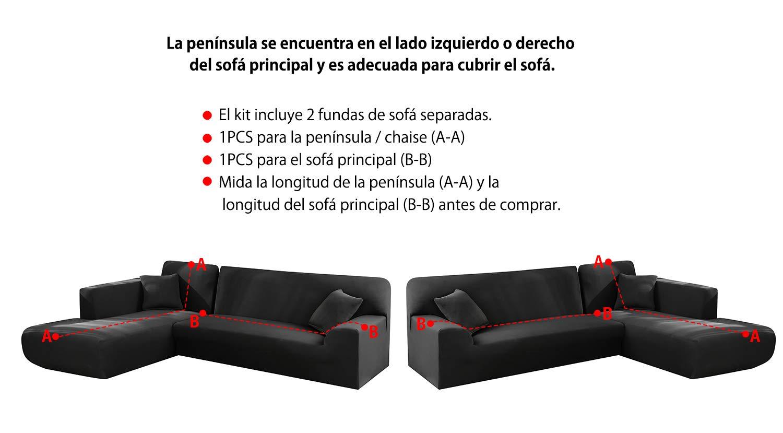 Yous Auto Funda Cubre Sofá Chaise Longue, Protector para Sofás Acolchado Brazo Izquierdo o Derecho. Tamaño -300 cm. (Negro, 230_x_300_cm-4 Plazas)