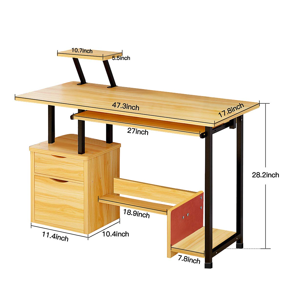 Computer Desk,Laptop Desk Modern Style Writing Study Table Home Office Desk Compact Gaming Desk Multipurpose PC Workstation Steel Frame and Bookshelf for Home Office with Keyboard Tray & CPU Holder by Suninhome (Image #6)