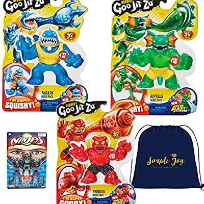 Heroes of Goo Jit Zu Super Stretchy Action Figures Water Blast Attack - Thrash, Redback, Reptaur (3-Pack Set): Toys & Games