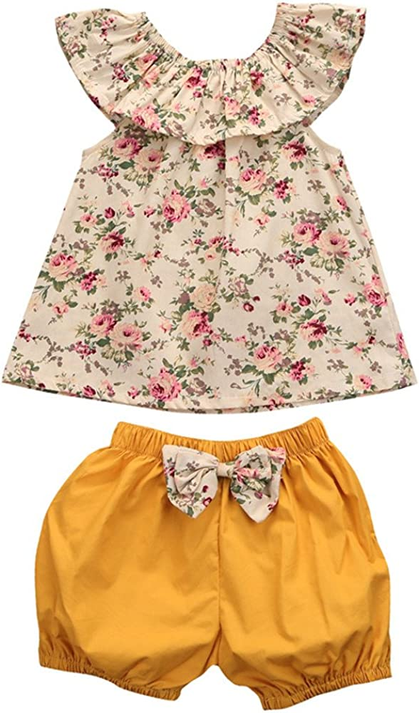 MOGOV Toddler Kids Girl 2PC Summer Sleeveless Floral Sleeveless Tops+Bow Shorts Pants Outfits Clothes Set