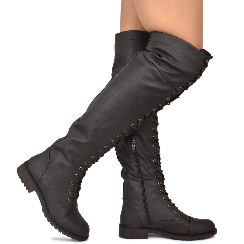 46ce22affc93 Amazon.com | Premier Standard - Women's Fashion Comfy Vegan Suede Side  Zipper Over Knee High Boots | Over-the-Knee