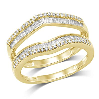 Amazon 1 2 ct Natural Round and Baguette Wrap Guard Ring