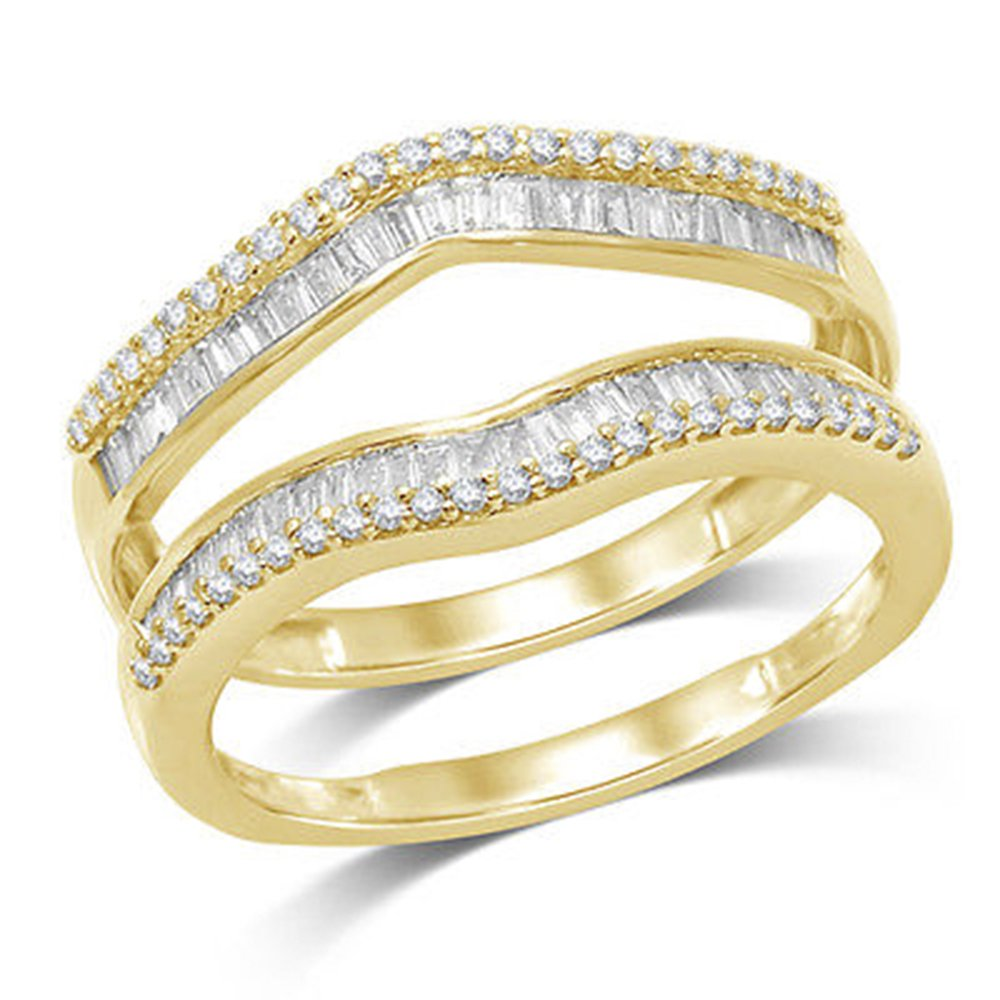 OMEGA JEWELLERY 1/2 ct Natural Round and Baguette Wrap Guard Ring Solid 14K Yellow Gold (7)