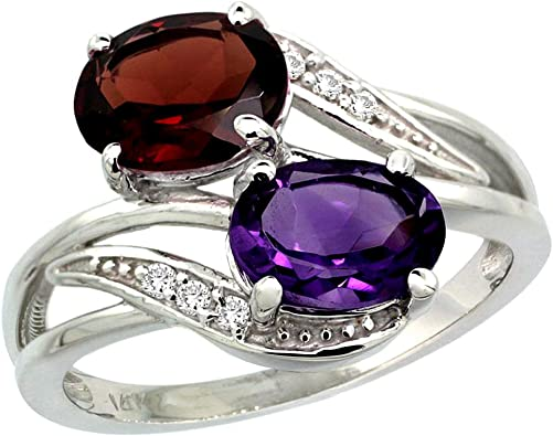Mens Diamond And Oval Amethyst Ring In 10K White Gold