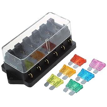 SODIAL(R) 6 vias Caja de soporte de fusibles Bloque Caja de fusibles de circuito de vehiculo coche+ fusibles libre EE.UU.: Amazon.es: Industria, empresas y ciencia