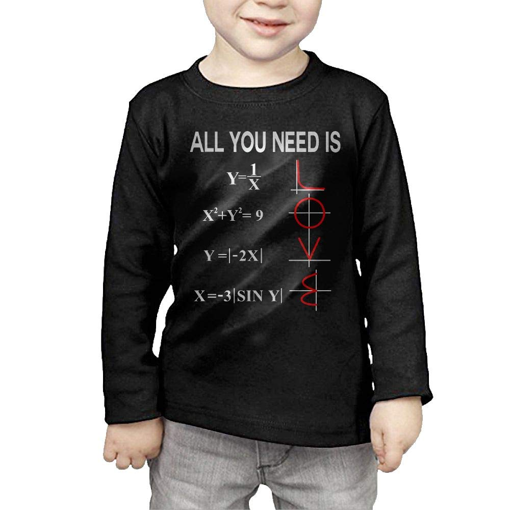 Toddler Kids All You Need is Love Math Printed Long Sleeve 100/% Cotton Infants Tops