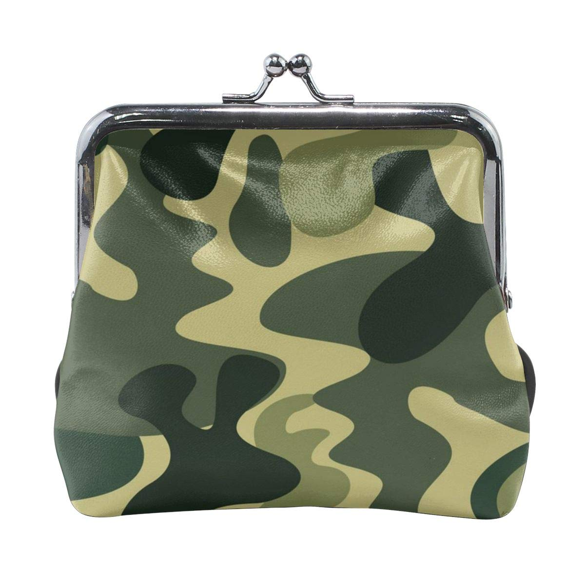Personality Metal Lock Purse Architd Customized Cute Retro Coin Purse Girl Kiss And Buckle Change Purse Ladys HandbagCamouflage Yellow Green Pattern