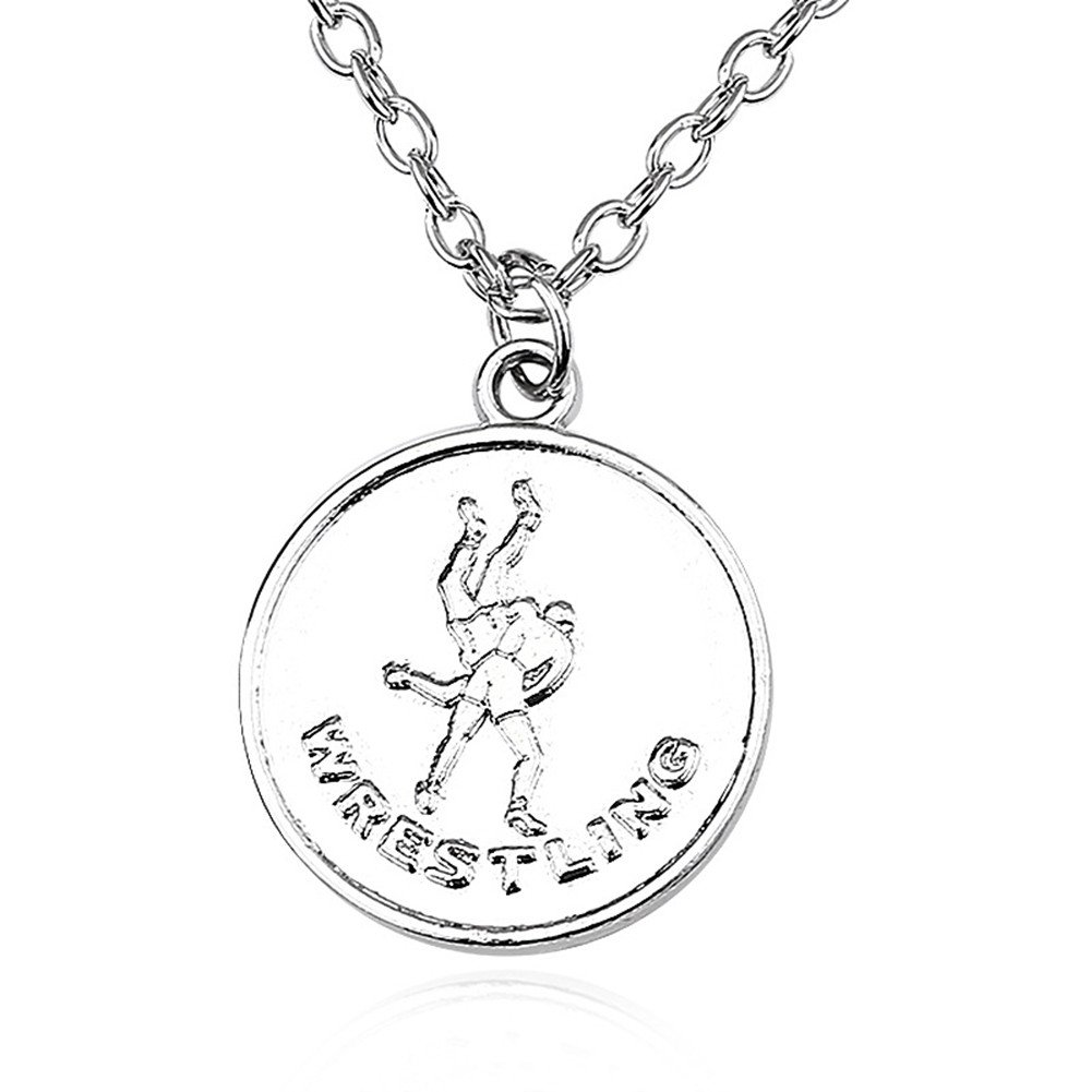 BAEBAE Sterling Silver Plated Sport Athletes Wrestling kickboxer Engraved Round charm Pendant Necklace,20''