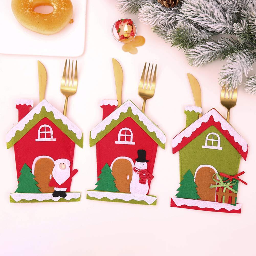 CHoppyWAVE Cutlery Pouch, Christmas Tree House Santa Elk Snowman Xmas Dinner Table Decor Spoon Knife Pouch - 4# by CHoppyWAVE (Image #3)