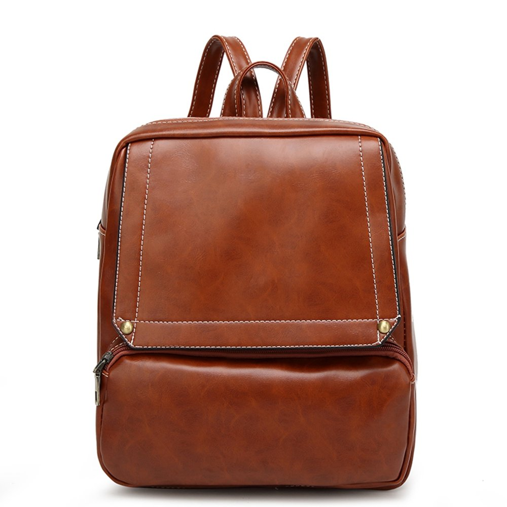 Mn& Sue Vintage PU Leather Backpack for Women Shoulder Purse School Bag Stylish Satchel ASBP-0605-Z