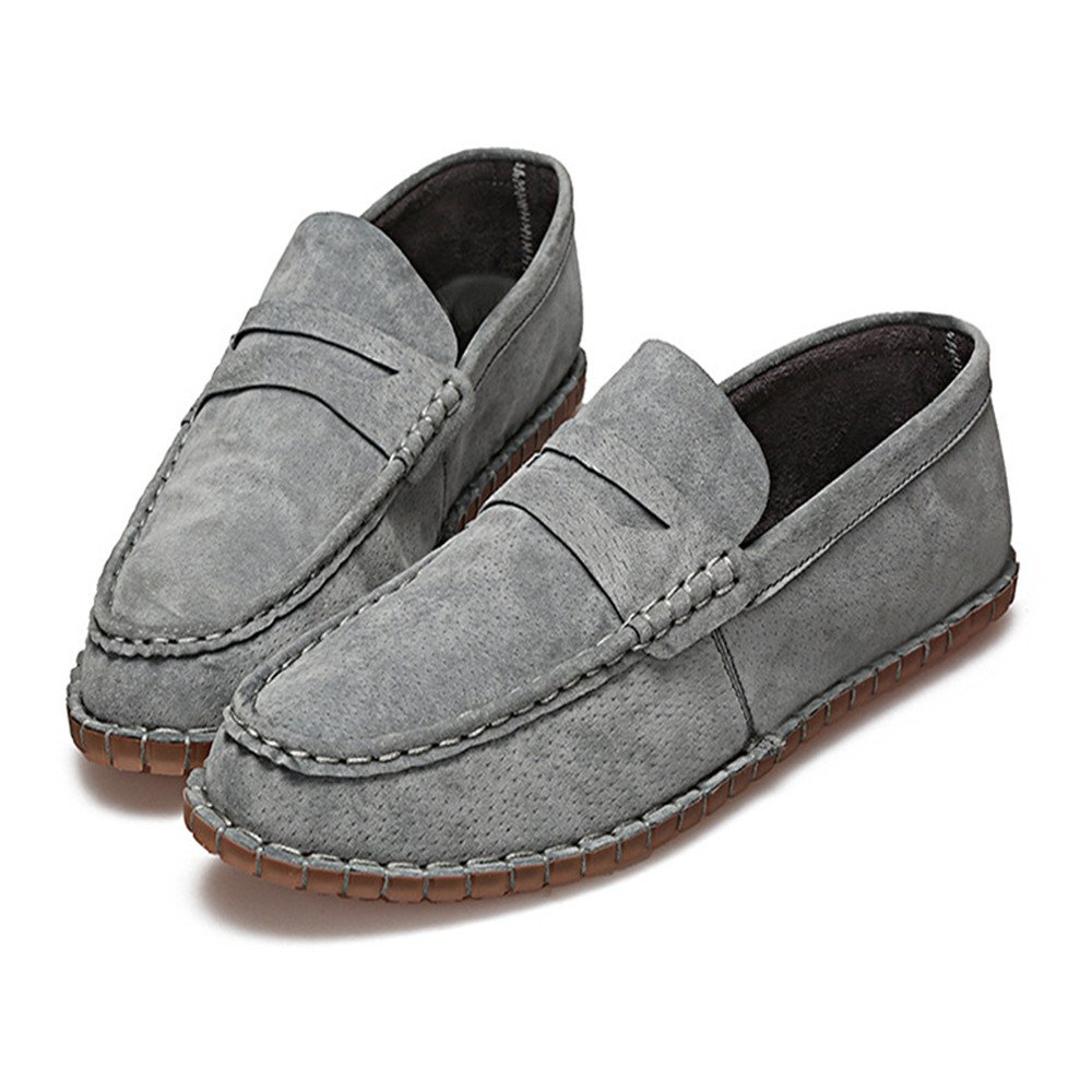 AFCITY Herbst Männer Schweinsleder Schuhe Flachem Boden Slip on Schuhe Schwarz, Klassischer Stiefelschuh (Farbe : Schwarz, Schuhe Größe : 40 EU) Grau 96e0fd