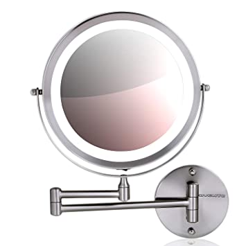 Amazon Com Ovente Wall Mount Makeup Mirror Battery Operated Led