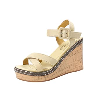f04e0324f7a4 Summer Womens Ankle Strap Buckle Wedge Sandal Flat Thong Flip Flop Girl  Fish Mouth Platform High