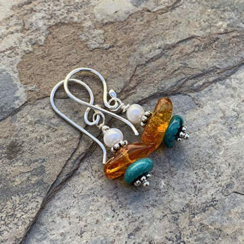 Amber Nugget Earrings with Turquoise and pearl, 1.25 inches