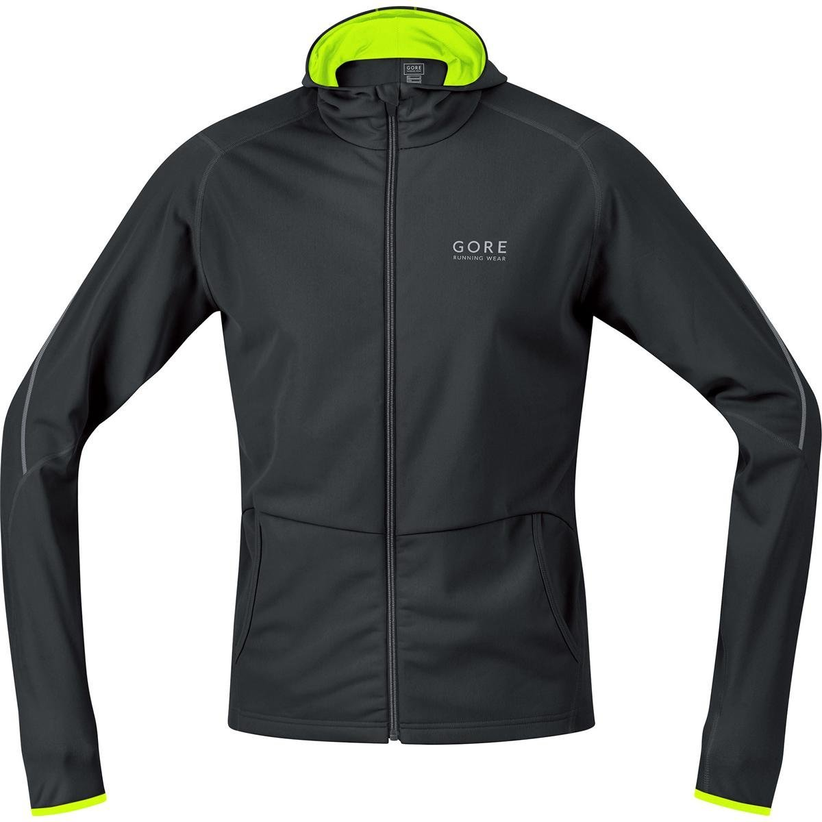 Gore Running WEAR Kapuzen-Laufjacke, Gore Selected Fabrics, Essential Hoody Black/Neon Yellow SHESSE