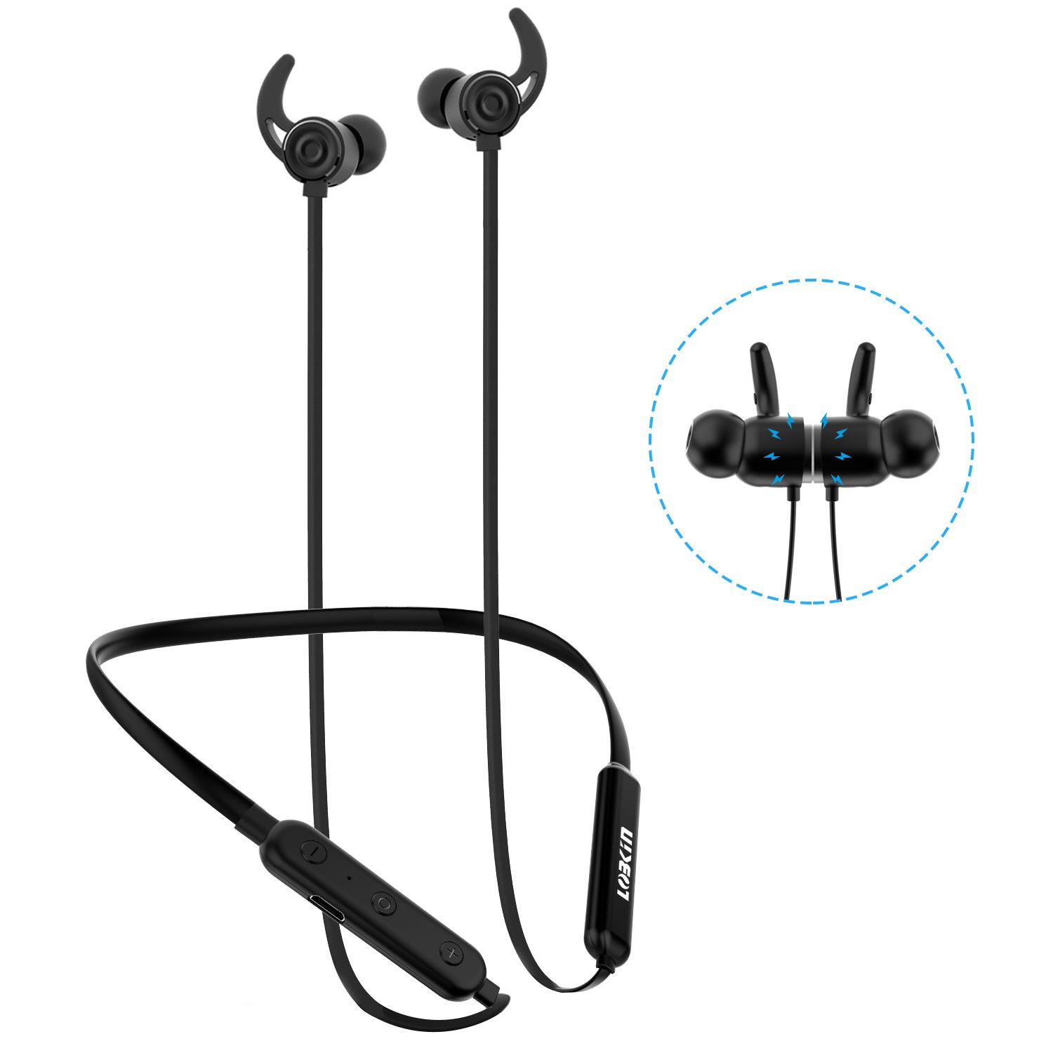 Lobkin Wireless Bluetooth Headphones Lightweight In-ear Headsets with Microphone IPX6 Sweatproof Magnetic Sport Earphones for iphone Android 8 Hours Hi-quality Music Built-in cVc 6.0 Bluetooth 4.2