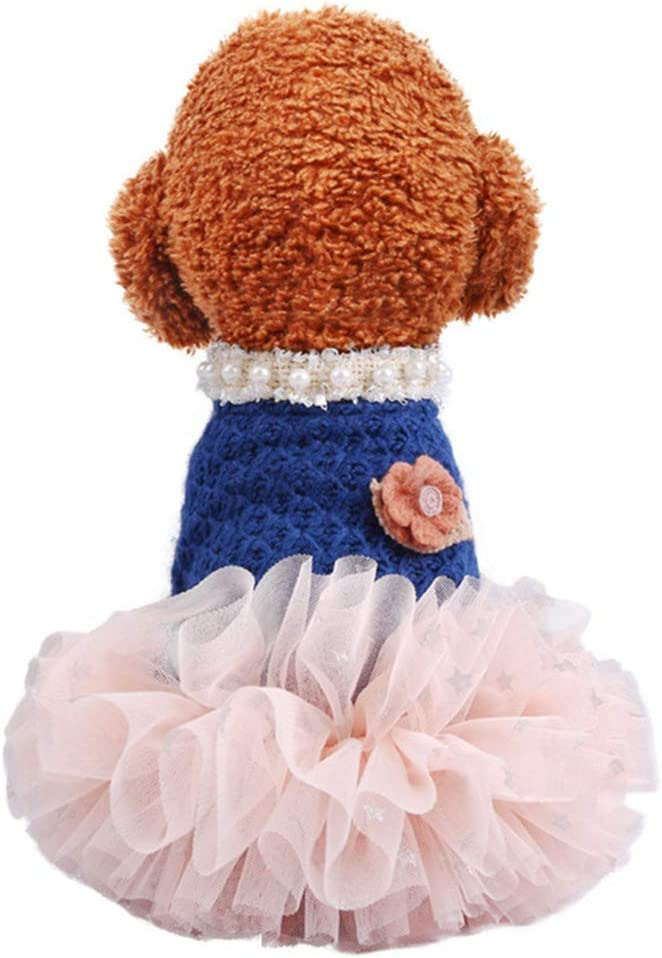 Zhyaj Pet Clothes Pearl Collar Fluffy Gauze Skirt Bichon Chihuahua Teddy Bomei Small And Medium Dog Cat Clothes