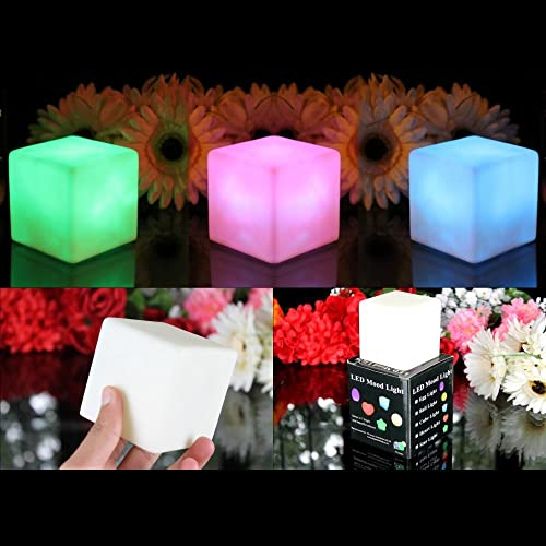 PK Green 3 Mood Cube Lights - Colour Changing Lamp LED Sensory, Light Up Battery Cube Mood Lights for Bedroom by