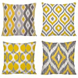 Comoco 4 Pcs Color Coordinated Geometric Digital Printing Cotton Canvas Throw Pillow Case Decorative Pillowcase Cushion Cover 17.75 X 17.75 Inch 45 X 45 Cm (Yellow and Grey Bundle Set Of 4)