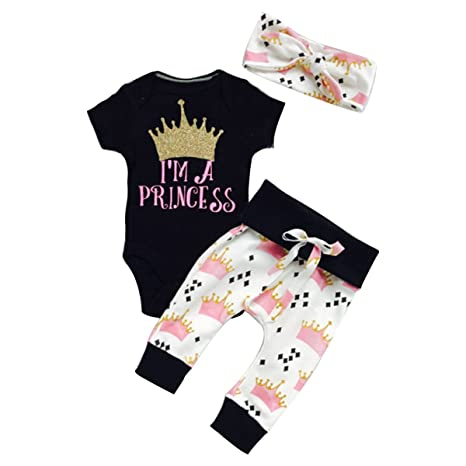 puseky Infant bebé Pelele Ropa de niñas Princesa Corona Diadema Pantalones Ropa Set Negro Negro Talla