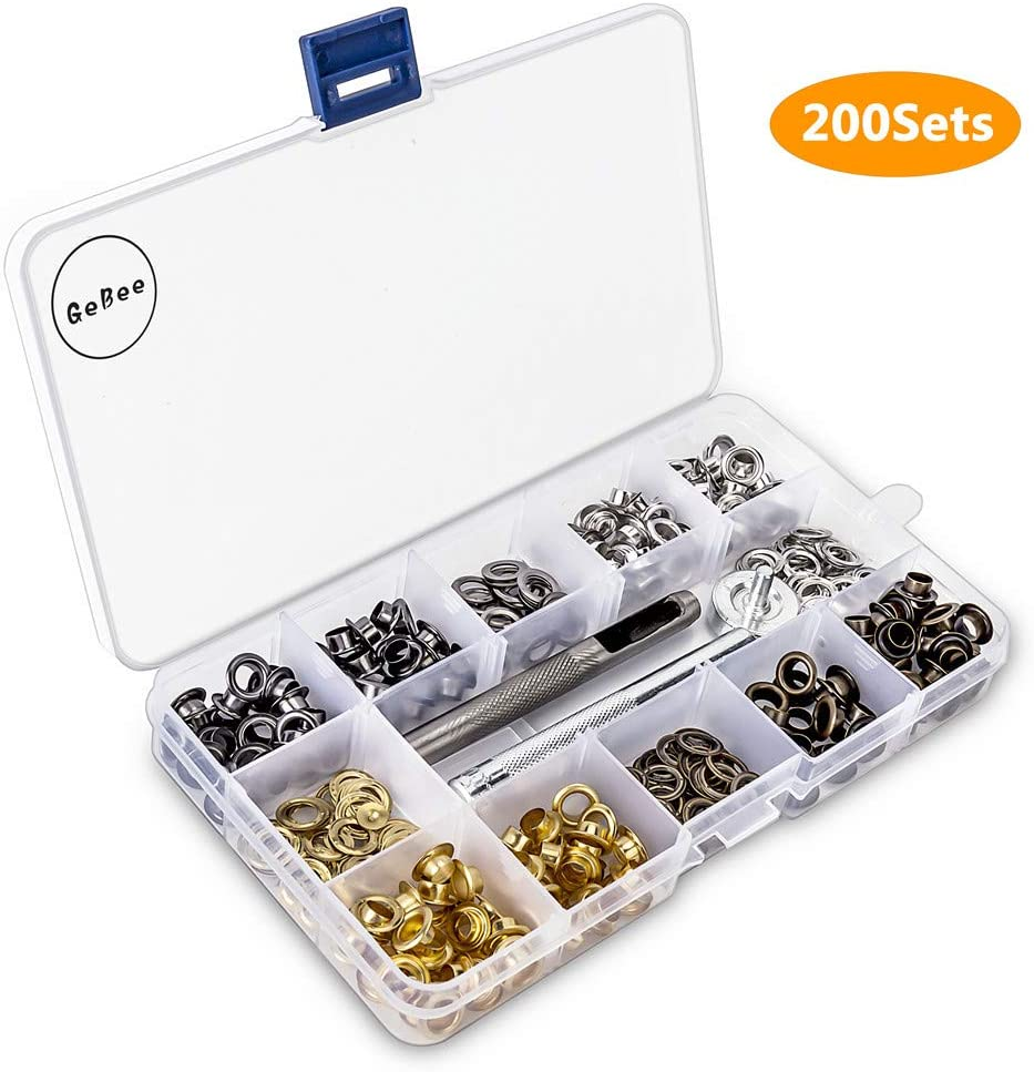 200 Sets Grommet Kit 1/4 Inch, Upgraded 4 Colors Grommets Eyelets with 3 Pcs Install Tool and Storage Box, Easy to Use for Tarps, Fabric, Canvas, Clothing, Paper, Leather