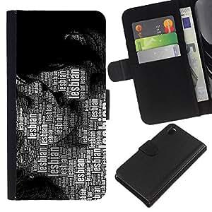 Sony Xperia Z3 D6603 / D6633 / D6643 / D6653 / D6616 , la tarjeta de Crédito Slots PU Funda de cuero Monedero caso cubierta de piel ( Lesbian Lgbt Quote Art Women Kissing Rights)