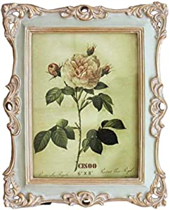CISOO Vintage Picture Frame 6x8 Antique Photo Frame Table Top Display and Wall Hanging Home Decor, Green