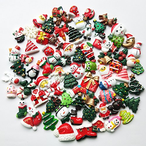 Mosheng Accessory 20pcs Christmas Tree Resin Flatback Flat Back Mix Lots Art Album Flatback Embellishments DIY Scrapbooking Craft Accessory