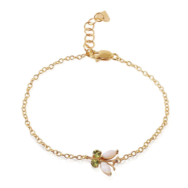 ALARRI 0.6 Carat 14K Solid Gold Flutter Opal Peridot Bracelet Size 7 Inch Length