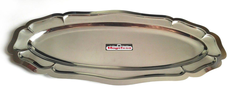Magefesa - Bandeja Oval en Acero Inoxidable - Modelo Luis XV - 60 cm: Amazon.es: Hogar