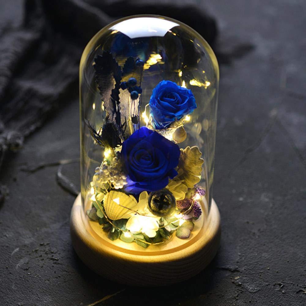 プリザーブドフラワーローズ、ガラスドームで続く手作りの魅惑のバラ彼女への最高の贈り物 (色 : WJG001) B07PZ4KS27 WJG001