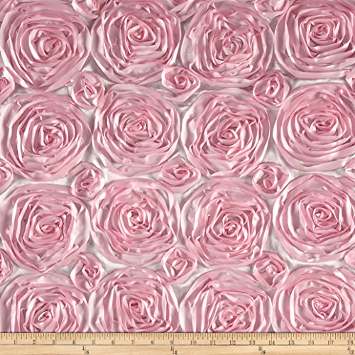 Pink Rosette (Wedding Rosette Satin Pink Fabric By The Yard)