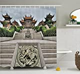 Home Decor Collection Traditional Chinese Temple with Mythical Double Dragon Carving Buddha Oriental Zen Garden Photo Polyester Fabric Bathroom Shower Curtain Set with Hooks Multi