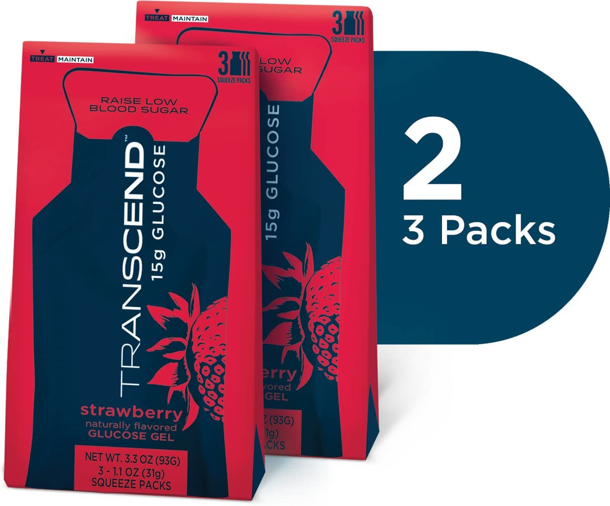 Strawberry Glucose Gels in Two 3-packs by Transcend