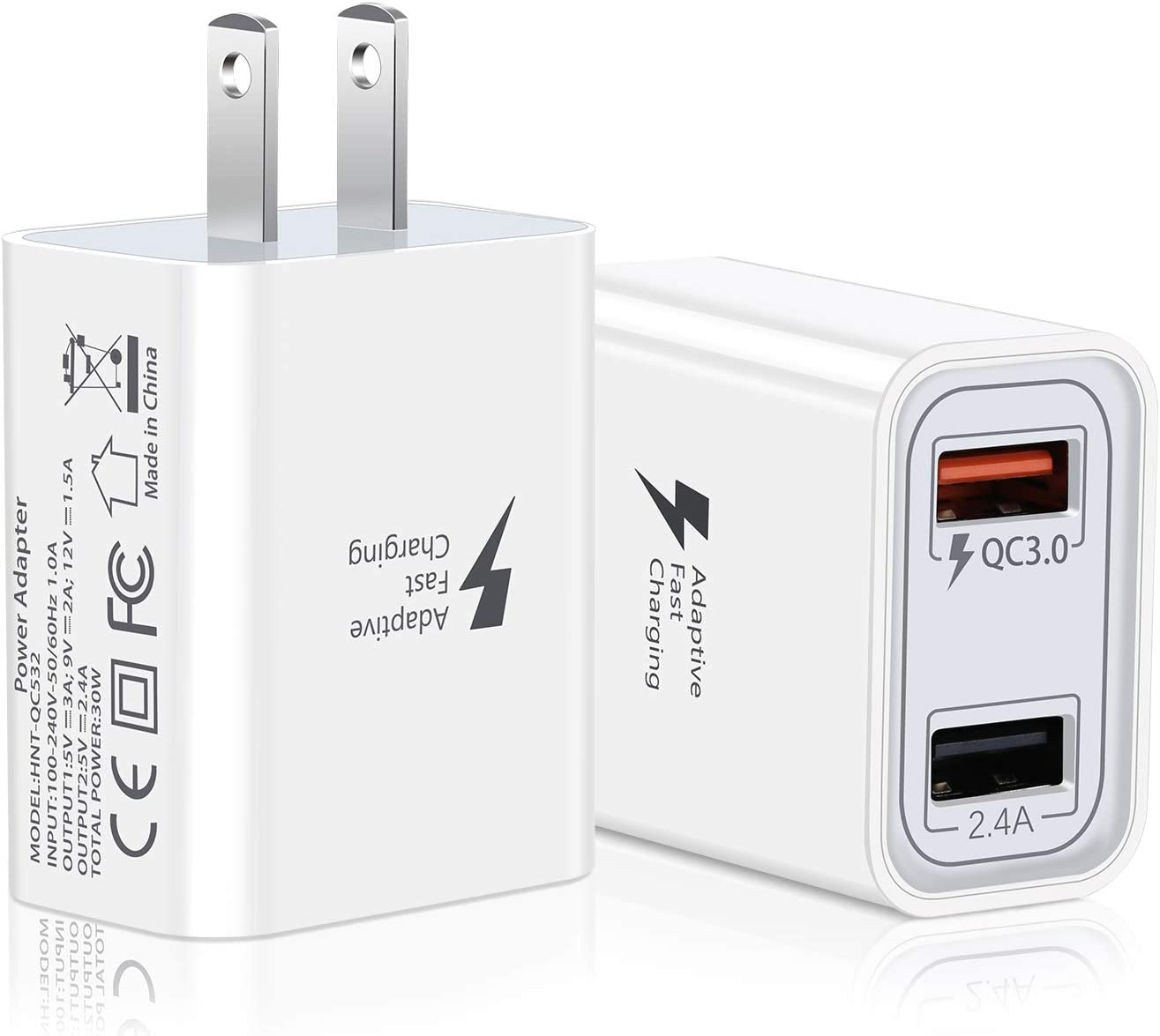 LG QC3.0+2.4A Quick Charge 3.0 USB Wall Charger Tablet-Black,White Adapter Fast Charging Adaptive Plug Compatible with iPhone Xs//XS Max//XR//X//8//8 Plus//7//6S//6S Plus,Samsung Galaxy S10 S9 S8 Plus S7 S6 Edge Note 8 9 10 Pofesun 2-Pack 30W 2 Ports HTC