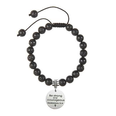 Meibai Bible Verse Bracelet 8mm Lava Rock Beads Bracelet Christian Gift