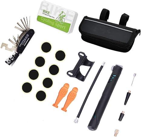 Little World Kit de reparación de Bicicletas, Mini Bomba de Bicicleta, Herramientas de reparación de neumáticos Planas con Bolsa de Parche de Tubo de neumático para Mantenimiento de Bicicleta: Amazon.es: Deportes y