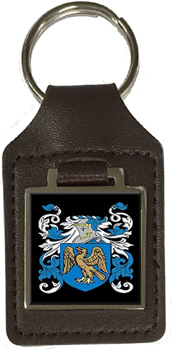 Kilcullen Family Crest Surname Coat Of Arms Brown Leather Keyring Engraved
