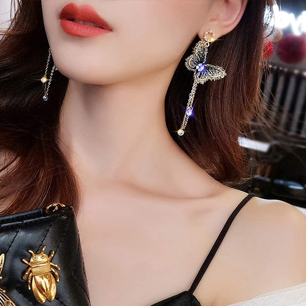 Li-ly Fille de qualit/é Premium s Long Tassel Earrings Girl Mode Papillon Strass Tassel Long Dangle Stud Boucles doreilles Bijoux Cadeau Dor/é
