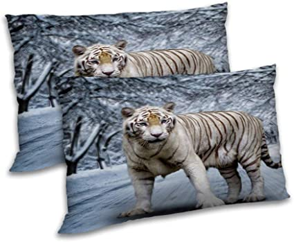 """Tiger Printed Pillow Cover Set Satin Home Decoration Cushion Case Bedding 12x18/"""""""