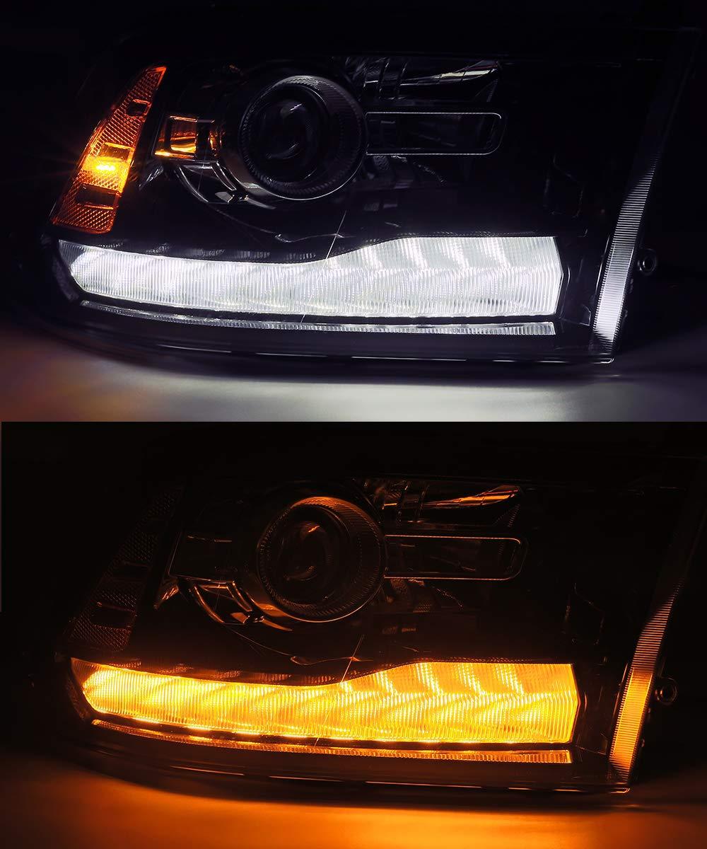 Modifystreet Full Gloss Black with Smoke DRL For 09-18 Ram 1500//10-18 Ram 2500//3500 Dual//Quad Projector Headlights Upgrade Kit