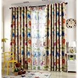 "Kids Room Cute Animal Zoo Design Printed Blackout Curtains Room Darkening Thermal Insulated Grommet Top Panels/Drapes for Bedroom,1Panel (54""Wx96""L, Animal zoo/Curtain)"